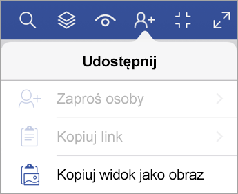 Opcje udostępniania w aplikacji Visio Viewer dla tabletu iPad