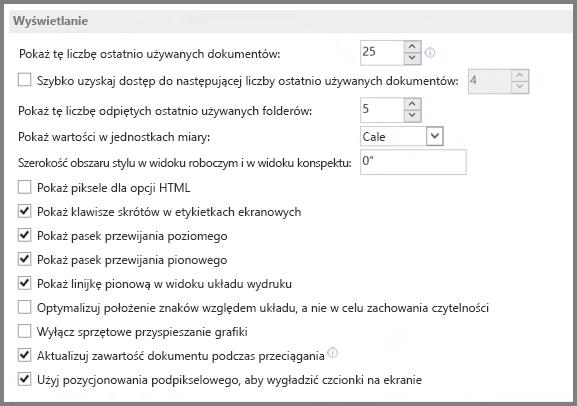 Program Word 2013 — opcje wyświetlania