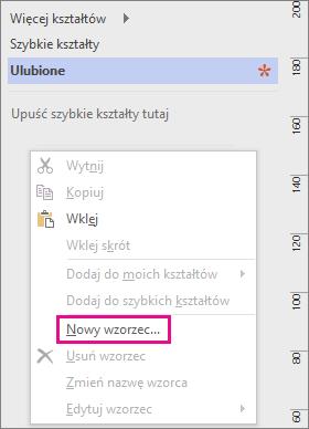 Kliknij prawym przyciskiem myszy poniżej listy wzorników w oknie Kształty, a następnie kliknij pozycję Nowy wzorzec.