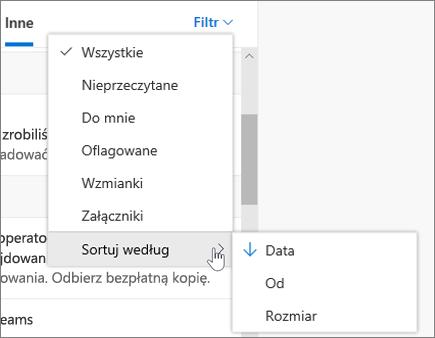 Filtrowanie wiadomości e-mail w programie Outlook w sieci web