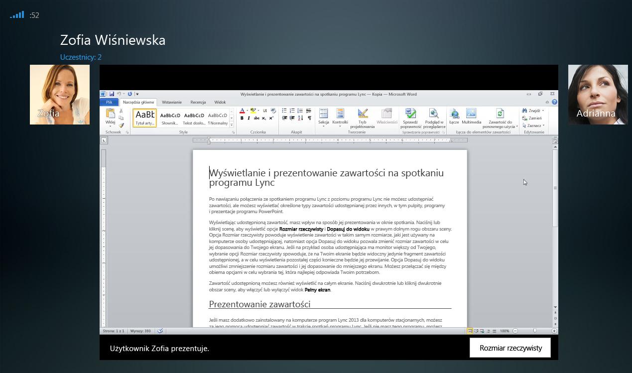 Zrzut ekranu: sesja udostępniania programu z wyświetloną opcją rozmiaru rzeczywistego