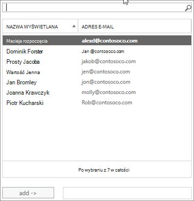 Zrzut ekranu: Wpisz, aby wyszukać lub wybierz użytkownika z listy