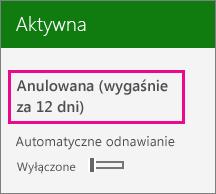 Zrzut ekranu przedstawiający subskrypcję z wyłączoną opcją automatycznego odnawiania