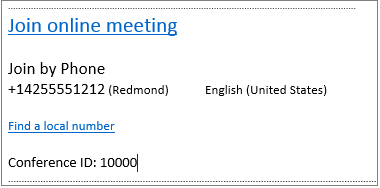 Aplikacja Outlook Web App, informacje o dołączaniu do spotkania online w wezwaniu na spotkanie