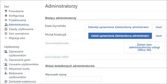 Zrzut ekranu przedstawiający listę administratorów