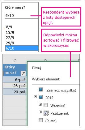 Wybieranie z listy opcji ułatwia sortowanie i filtrowanie