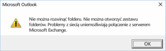 Błąd programu Outlook 2016 — nie można rozwinąć folderu