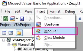 W menu Wstaw kliknij polecenie Module.
