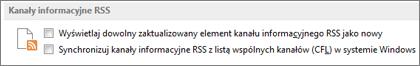 Sekcja Kanały informacyjne RSS w oknie dialogowym Opcje