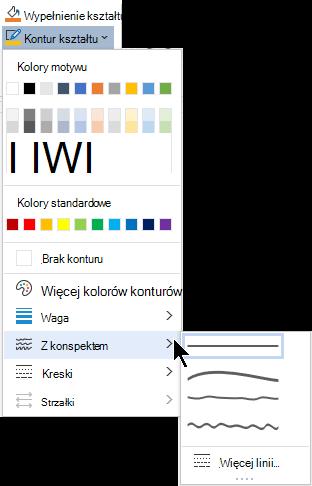 Opcje szkicu w menu Kontury kształtu.