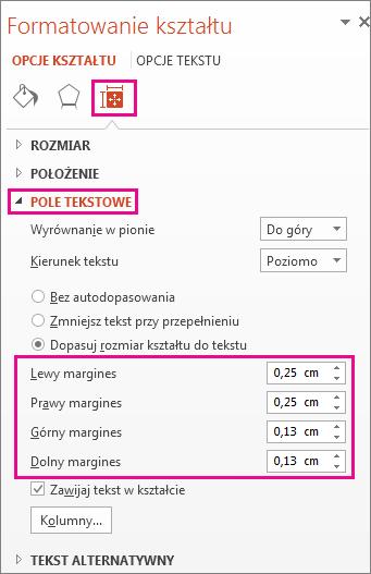 Opcje pola tekstowego w okienku Formatowanie kształtu