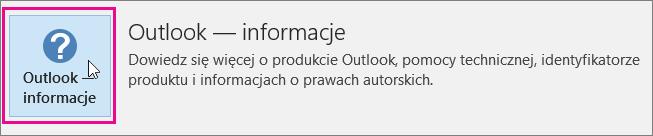 Wybierz pole Outlook — Informacje.