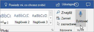 Przycisk Dyktuj w programie Word