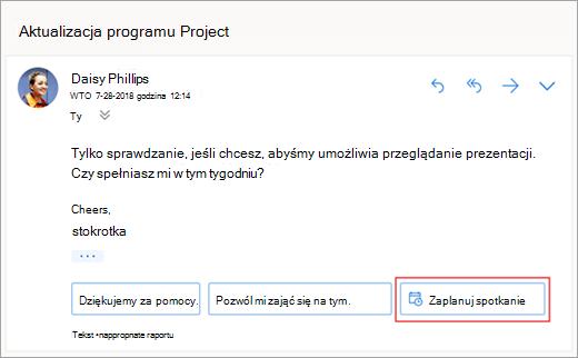 Zrzut ekranu przedstawiający sugerowaną odpowiedź na planowanie spotkania
