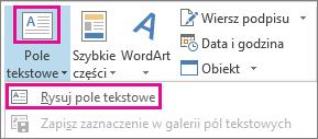 Menu Pole tekstowe w grupie Tekst
