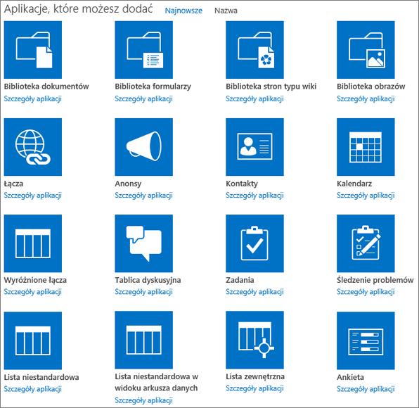 Zrzut ekranu przedstawiający pierwszy ekran strony Twoje aplikacje.
