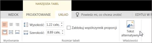 Zrzut ekranu przedstawia kartę Układ w obszarze Narzędzia tabel z kursorem wskazującym opcję Tekst alternatywny.
