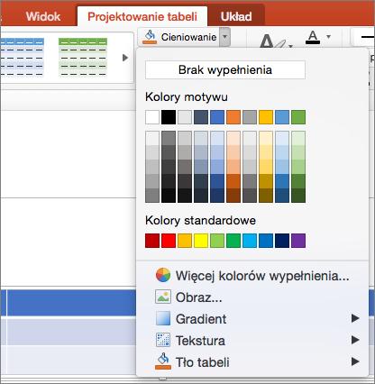 Zrzut ekranu przedstawia karty Projekt tabeli, wybierając strzałkę listy rozwijanej cieniowanie Aby wyświetlić dostępne opcje, takie jak brak wypełnienia, kolory motywu, kolory standardowe, więcej kolorów wypełnienia, obrazy, gradientu, tekstury i tło tabeli.
