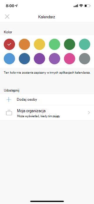 """Kalendarz na ekranie urządzenia przenośnego. W obszarze sekcji udostępniania znajduje się link """"Dodaj osoby""""."""