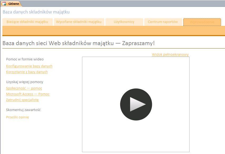 Baza danych sieci Web składników majątku