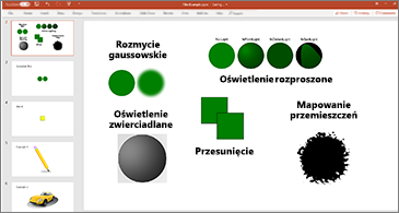 Slajd z przykładami filtrów SVG