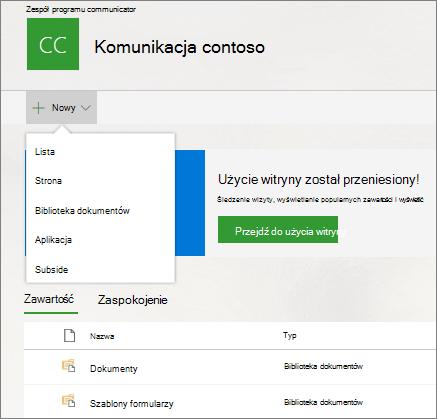 Nowe opcje strony zawartość witryny