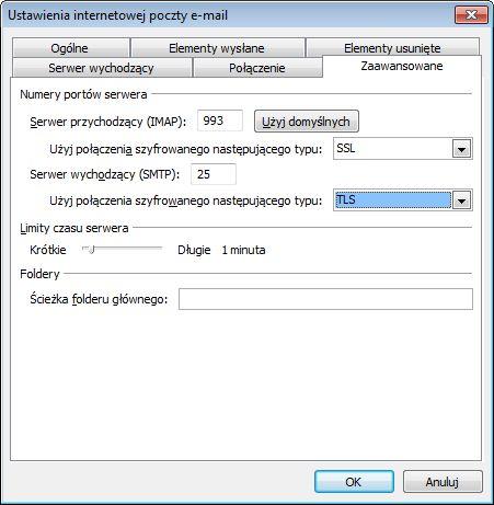 Ustawienia SSL i TLS programu Outlook 2010