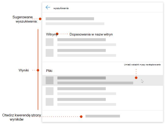 Zrzut ekranu przedstawiający pole wyszukiwania nowoczesny z łącza do elementów Eksplorowanie