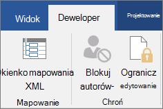 Na karcie Deweloper w grupie ochrona kliknij przycisk Ogranicz edytowanie