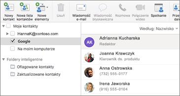 Lista kontaktów z wyświetlonymi kontaktami Google