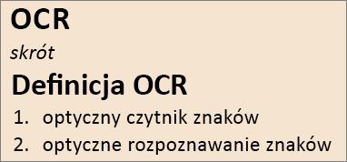 Omówienie funkcji OCR