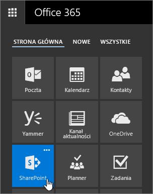 Ikona Uruchamianie aplikacji z wyróżnioną pozycją SharePoint.