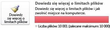 Licznik dokumentów programu SharePoint Workspace w przypadku używania co najmniej 10 000 dokumentów