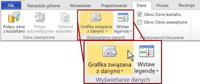Grupa Wyświetlanie danych na karcie Dane na wstążce programu Visio 2010