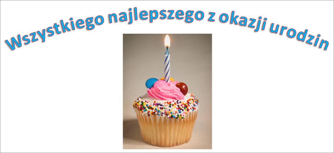 Przykład obiektu WordArt z wyrazami Happy Birthday i obrazem