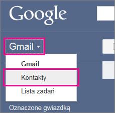 Usługa Google Gmail —kliknięcie pozycji Kontakty