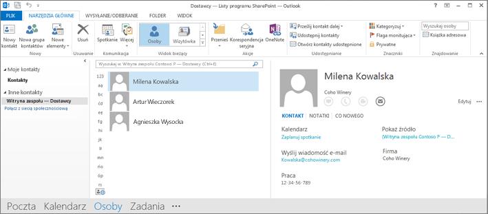 Zrzut ekranu przedstawiający kontakty witryny zespołu, gdy są one wyświetlane w programie Outlook