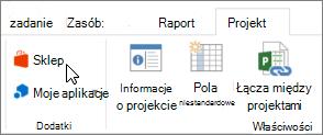 Zrzut ekranu przedstawiający część karty Projekt na Wstążce z kursorem wskazującym w magazynie. Wybierz pozycję Magazyn, aby przejść do sklepu Office i poszukaj dodatków dla programu Project.