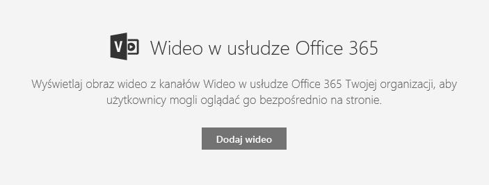 Zrzut ekranu przedstawiający okno dialogowe dodawania klipu wideo z usługi Office 365 w programie SharePoint.