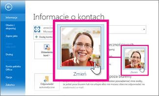 Zmienianie własnego obrazu w pakiecie Office z poziomu programu Outlook