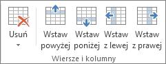 Opcje w grupie Wiersze i kolumny