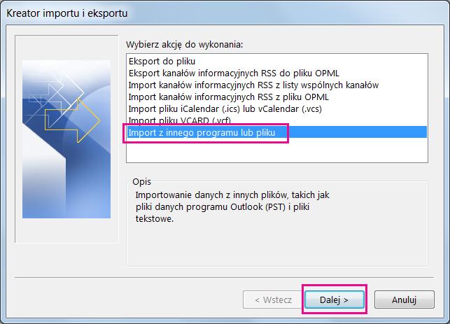 Wybierz opcję importowania wiadomości e-mail z innego programu lub pliku