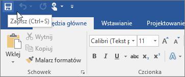 Ikona Zapisz wyświetlana na pasku narzędzi Szybki dostęp