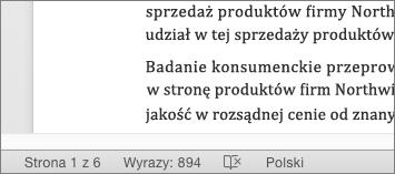 W dolnej części dokumentu na pasku stanu wyświetlana jest całkowita liczba wyrazów