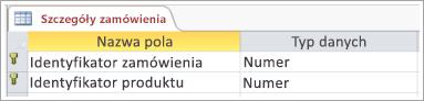 Zrzut ekranu przedstawiający klucz podstawowy w tabeli