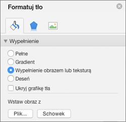 Opcja Wypełnienie obrazem w okienku Formatowanie tła