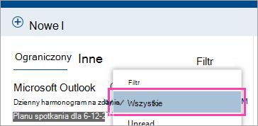 Zrzut ekranu przedstawiający przycisk Filtr z wszystkie wybrane