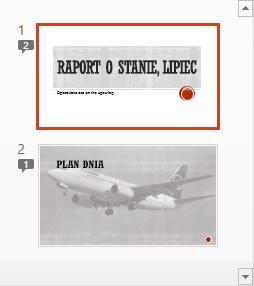 Symbole z liczbami wskazują obecność komentarzy na slajdach
