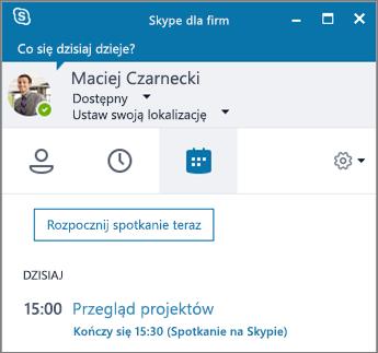Zrzut ekranu przedstawiający kartę Spotkania w oknie programu Skype dla firm.