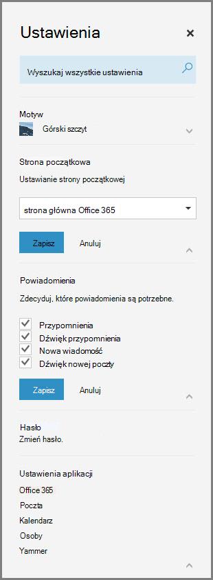 Powiadomienia usługi Office 365